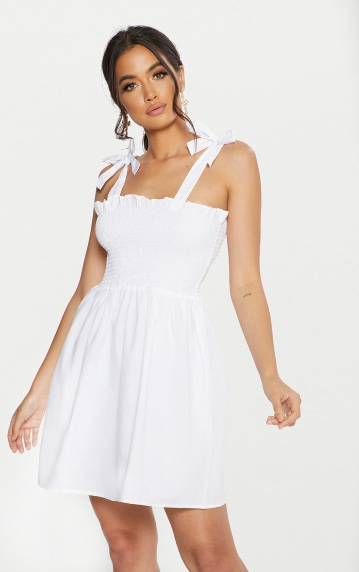 White Tie Strap Frill Detail Skater Dress Dresses Women Dress Online Party Dress Shopping [ 1180 x 740 Pixel ]