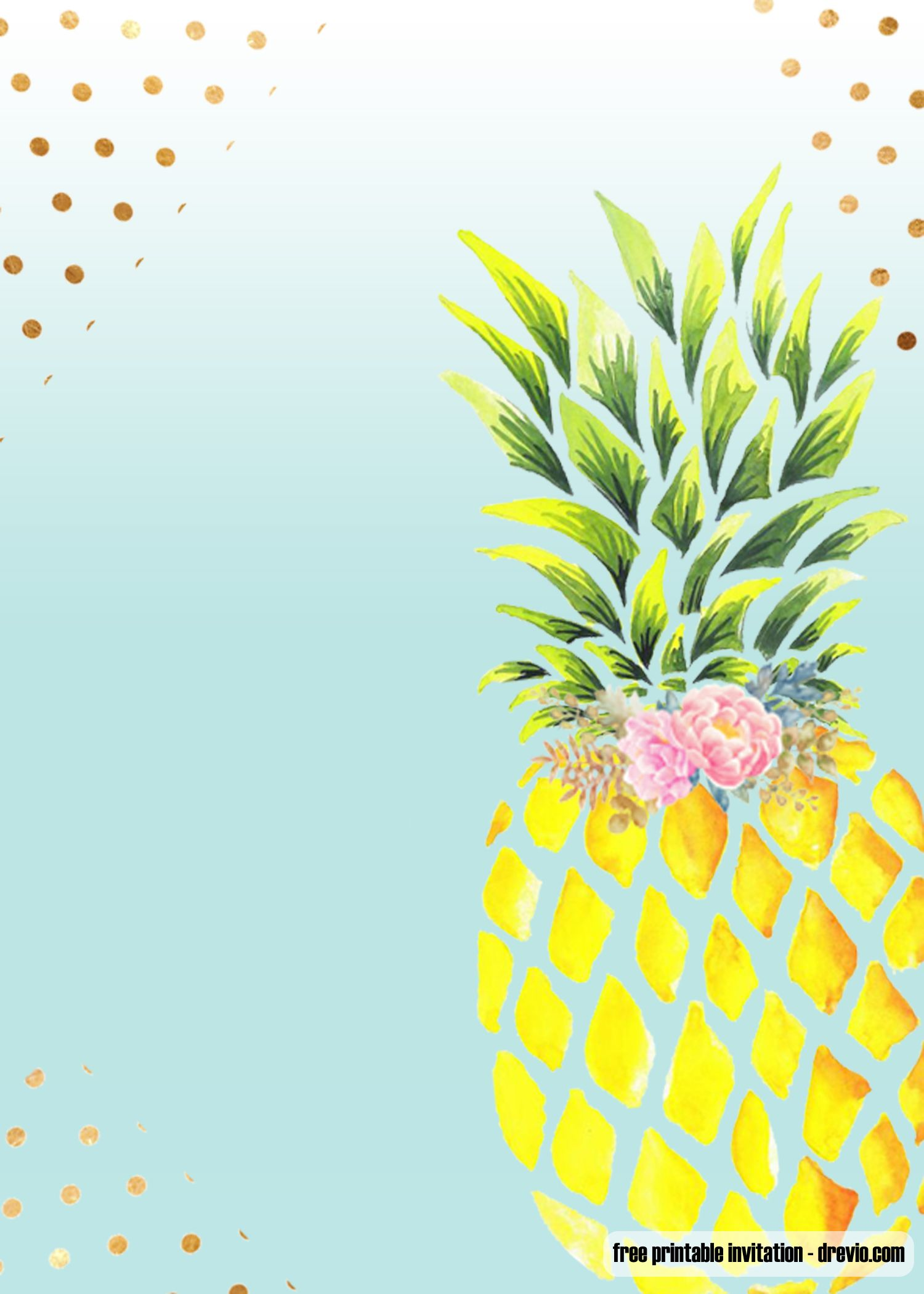 nice free printable aloha pineapple birthday invitation