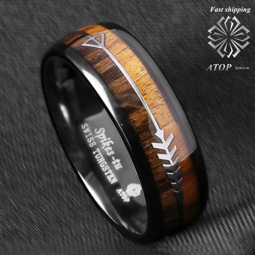 8mm Silver Tungsten Carbide Ring Sterling Silver Inlay Wedding Band ATOP jewelry