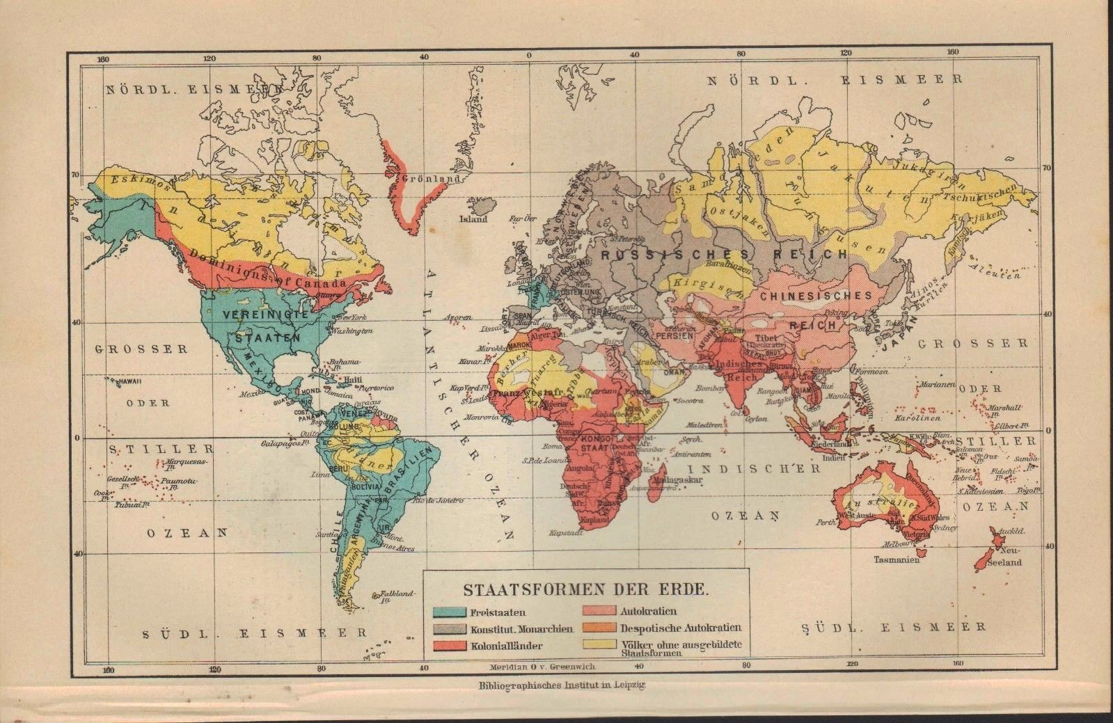 Forms of government around the world (1910 German map