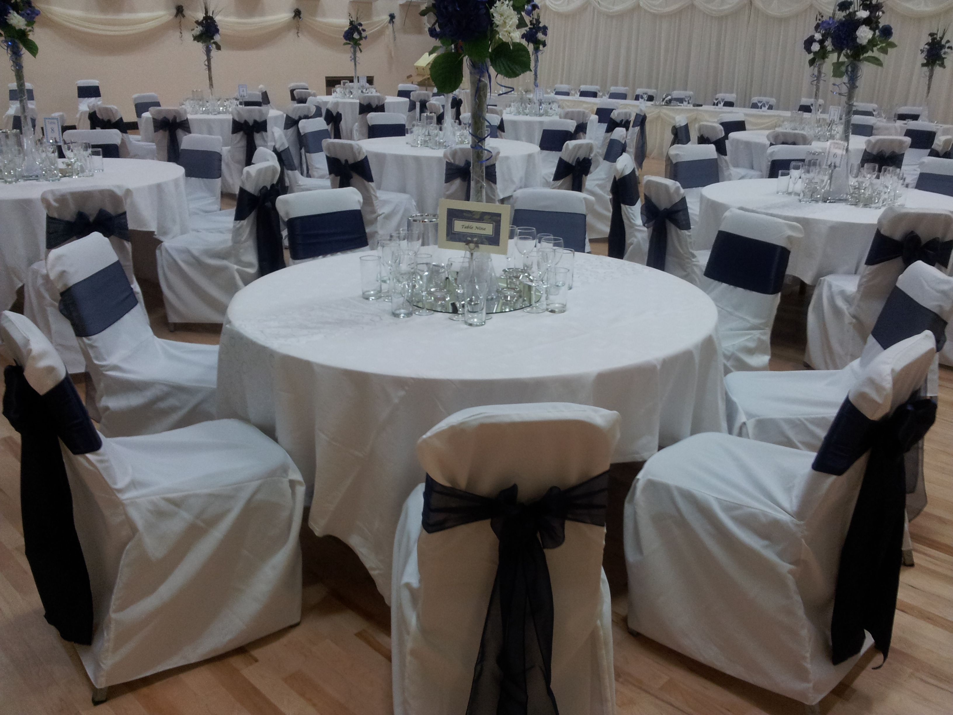 Alternating Navy Satin And Navy Organza Bows On White