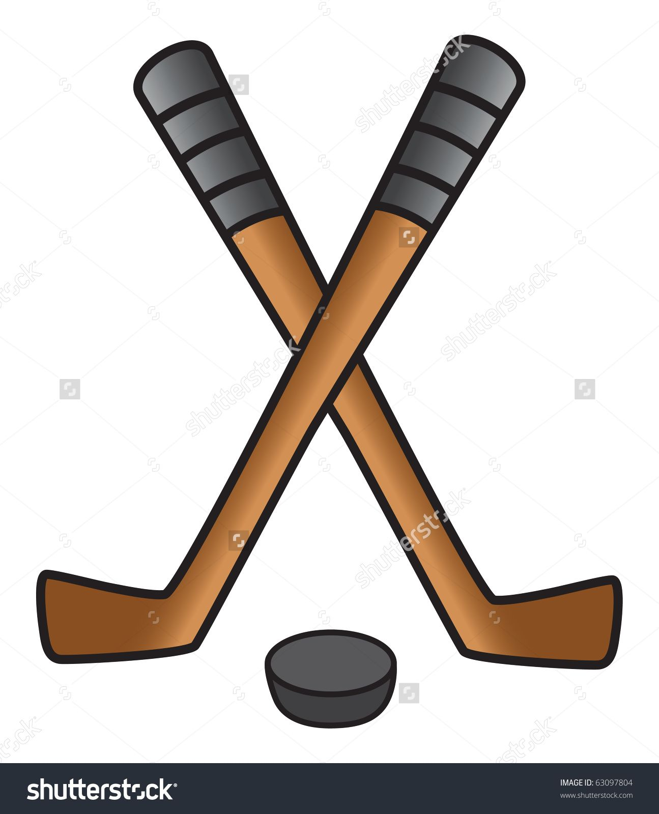 Cartoon Vector Illustration Of Hockey Sticks And Puck Hockey Stick Cartoons Vector Vector Illustration