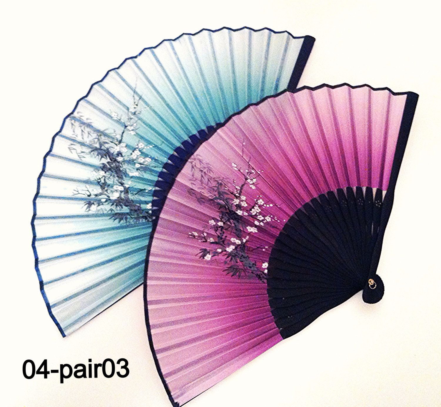 A Pair of Bamboo Silk Handfan Folding Hand Fan in Bamboo and Plum ...