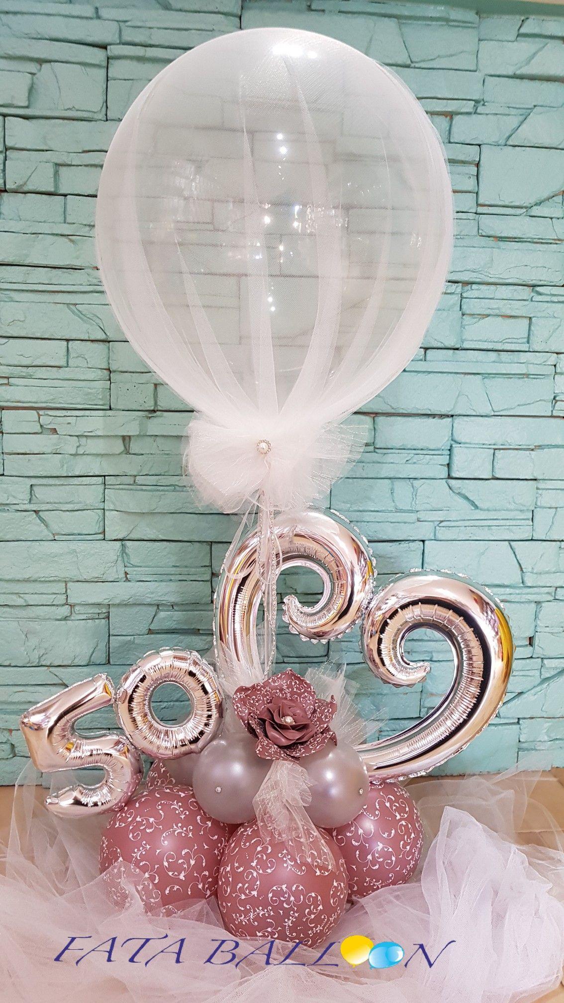 Composizione rosa gold argento 50 anni | balloon centerpiece in