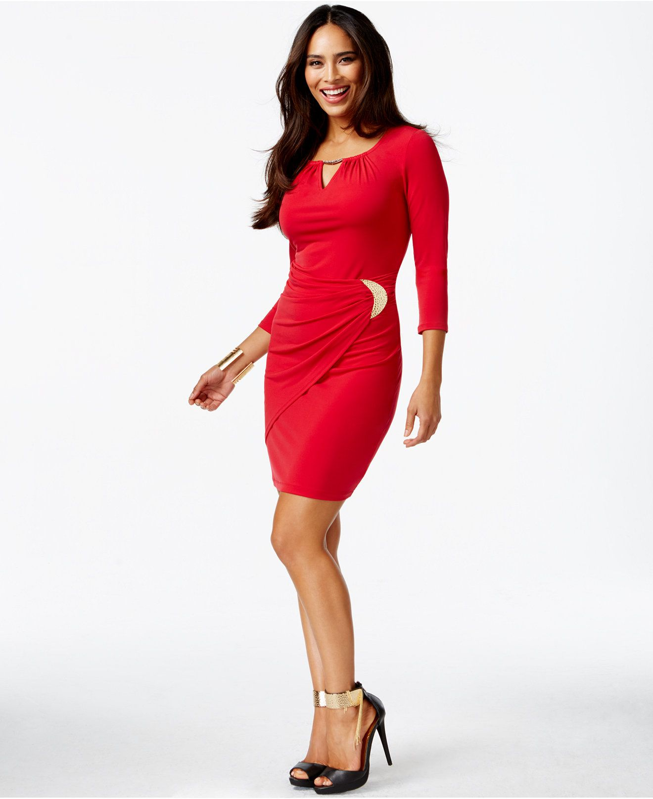 Thalia Sodi Faux-Wrap Keyhole Dress, Only at Macy's - Dresses - Women - Macy's