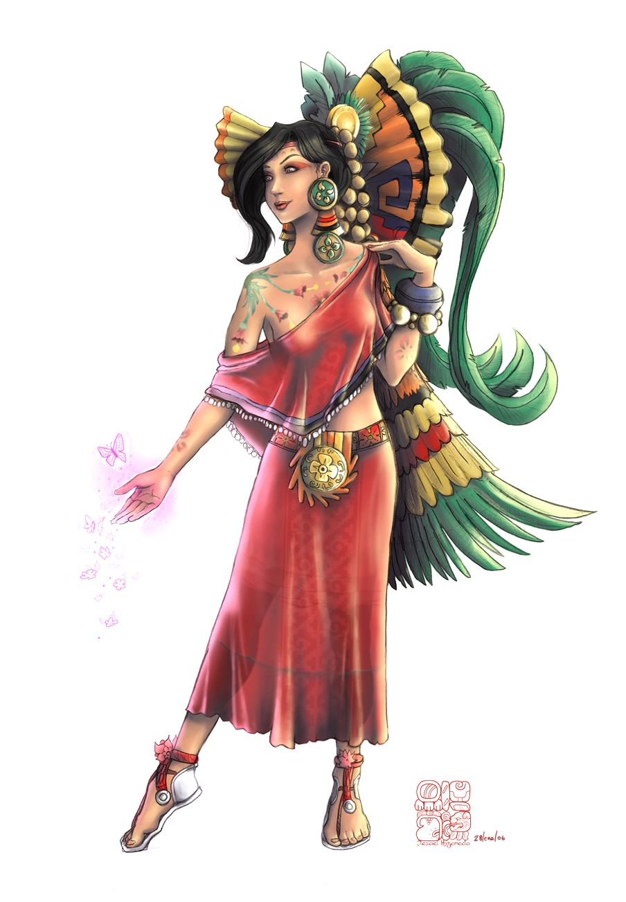 """Ixchel (""""EE-shell""""). Also Ix Chel, """"Lady of the Rainbow;"""" the Mayan goddess of the moon, rain, medicine and midwifery revered throughout the Yucatan, stretching to El Salvador. Ixchel is a triple goddess and as such has three forms. She appears with a hare companion, and helps with fertility. A weaver goddess, she helps with artisans and craftspeople. Mother of the Mayan deities, she helps with birth and protects women in labour."""