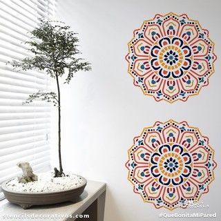 Plantilla decorativa para pintar mandalas rosetones o - Plantilla mandala pared ...