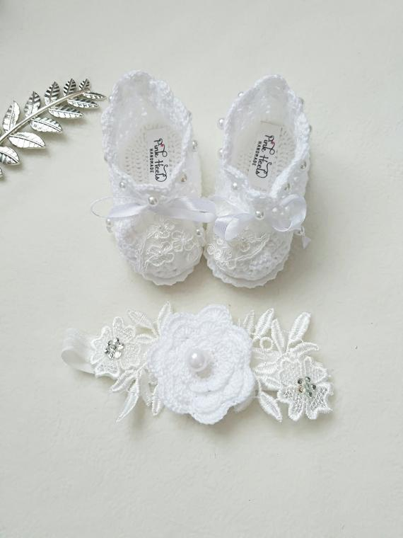 0484a0d668d8d Christening Booties, Baptism shoes Girl, White Baptism shoes ...