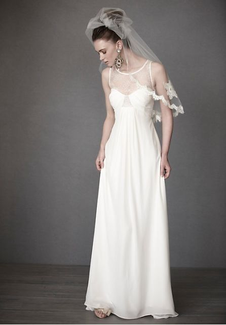 Home Bride Chiffon Scoop Column Simple Wedding Dress