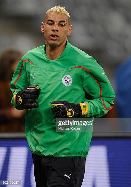 Faouzi Chaouchi warms up during the Algeria Training session at the Green Point Stadium on June 17 2010 in Cape Town South Africa