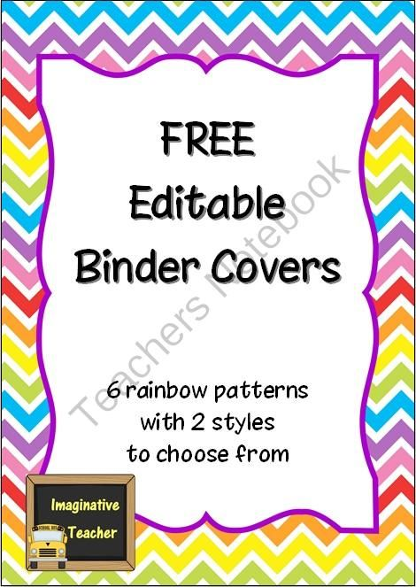 free editable binder covers rainbow from imaginative teacher on