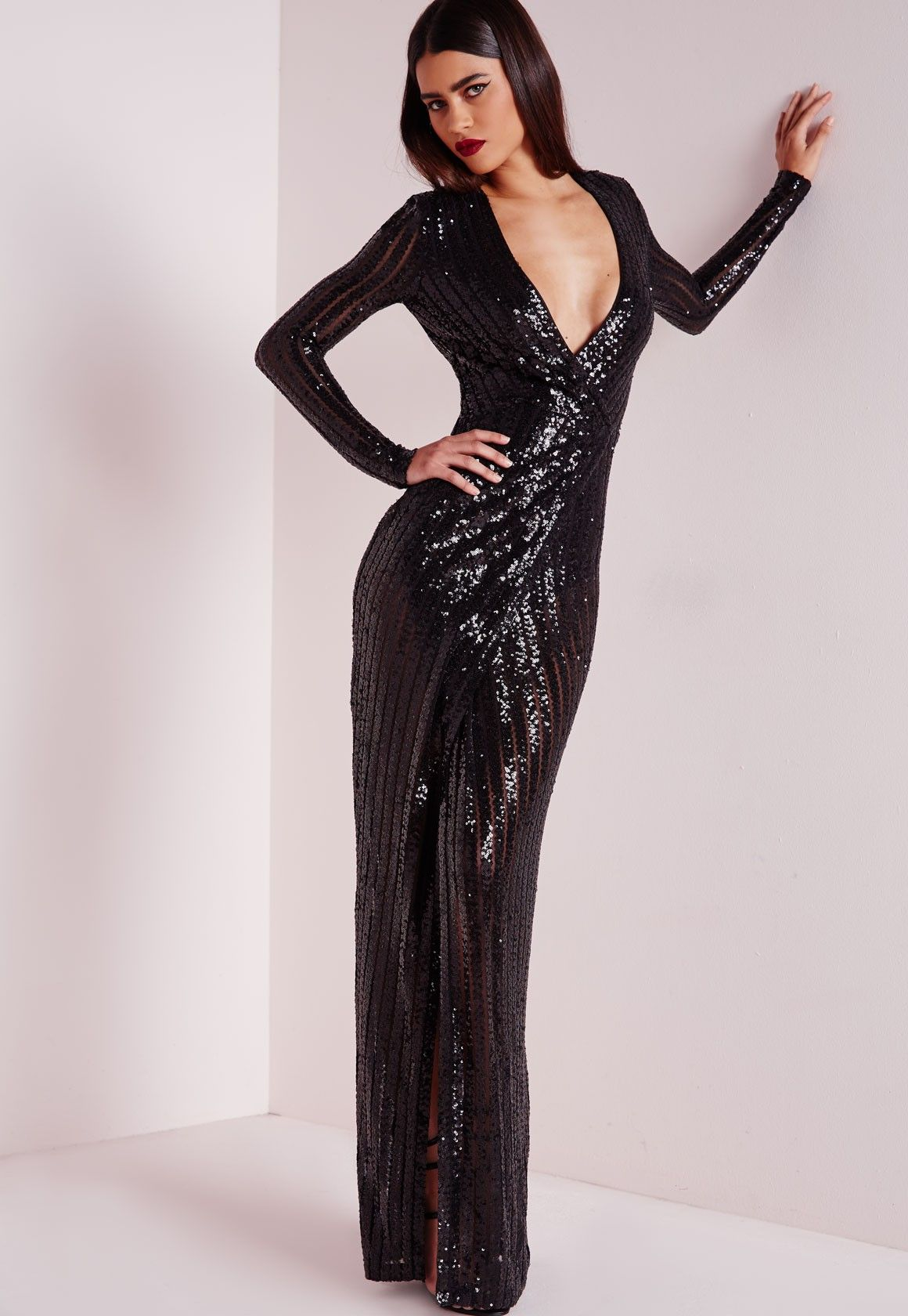 88f18e2d0584c Missguided - Premium Sequin Stripe Wrap Maxi Dress Black