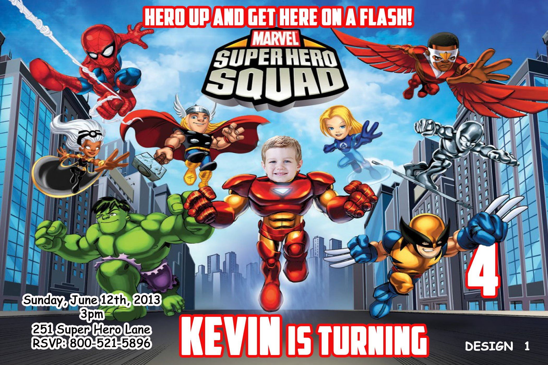 Super Heroes Squad Birthday Invitation $8.99 | Marvel Super Heroes ...
