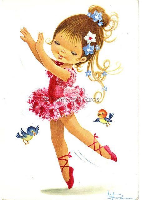vintage postcard of a big eyed ballet girl bailarinos pintura e