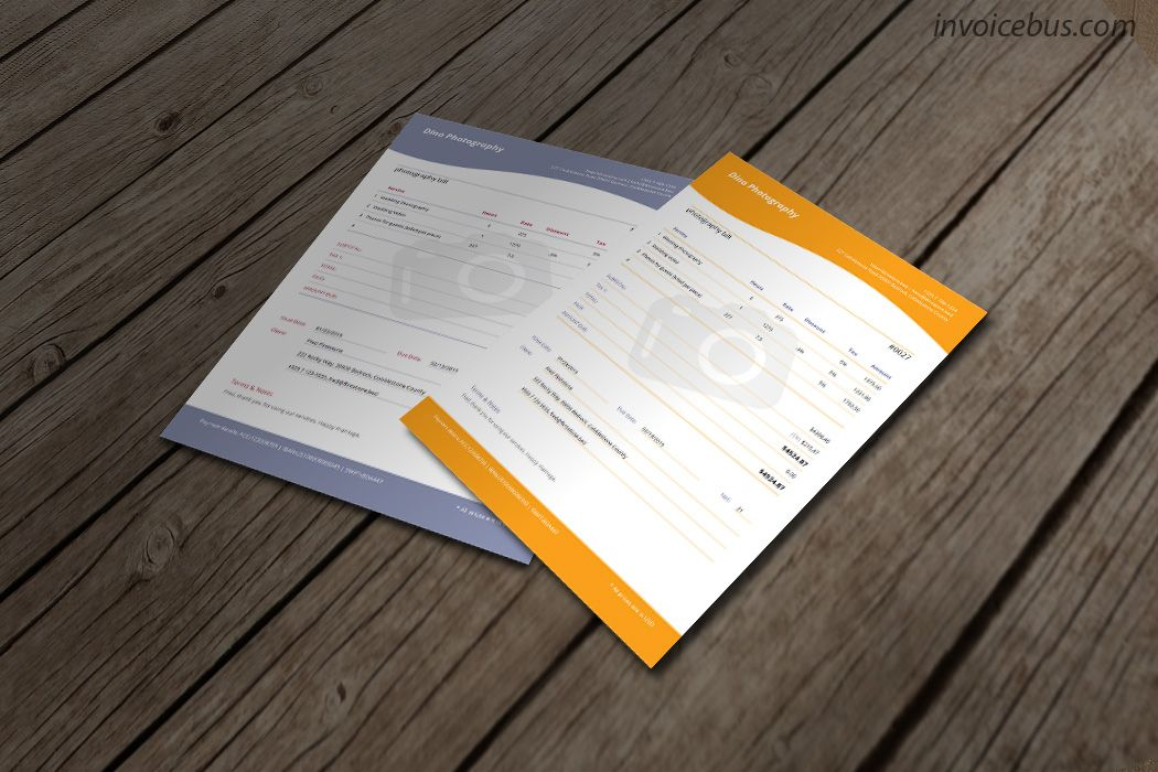 Photography Invoice Template  Jade  Template