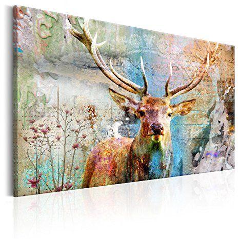 murando Bilder Hirsch 90x60 cm - Leinwandbilder - Bilder abstrakt - wohnzimmer bilder abstrakt