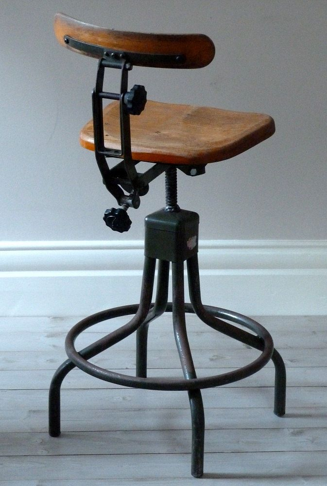 Antique Bed Stool: Vintage Evertaut Industrial Stool C. 1940s.