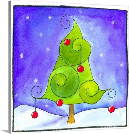 Christmas Tree Christmas Canvas Christmas Tree Painting Whimsical Christmas Trees
