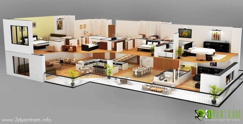 Casa 3d pared corte dise o de planta de piso 3d for Modern one bedroom house plans 3d