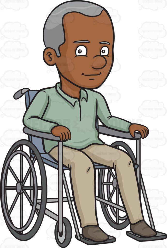 A Black Happy Grandfather Sitting In A Wheelchair Stock Art Wheelchair Black