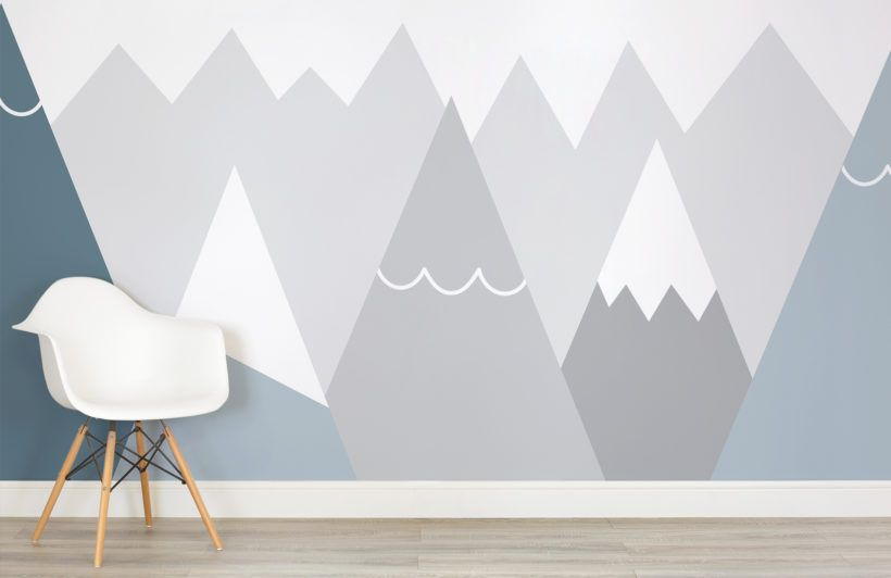 Kids Blue And Grey Mountains Wall Mural Kids Room Wallpaper