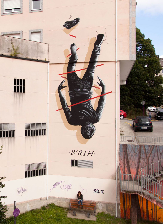 Birth By Sr X Street Art Mural Painted In Ordes Galicia Spain