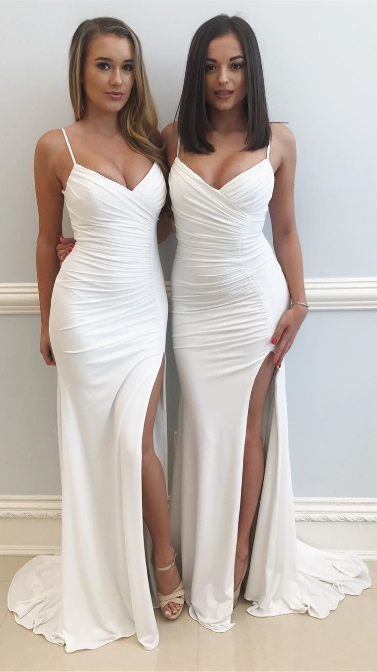 3caabbd3aee Sexy Straps White Mermaid Long Formal Dress with Slit