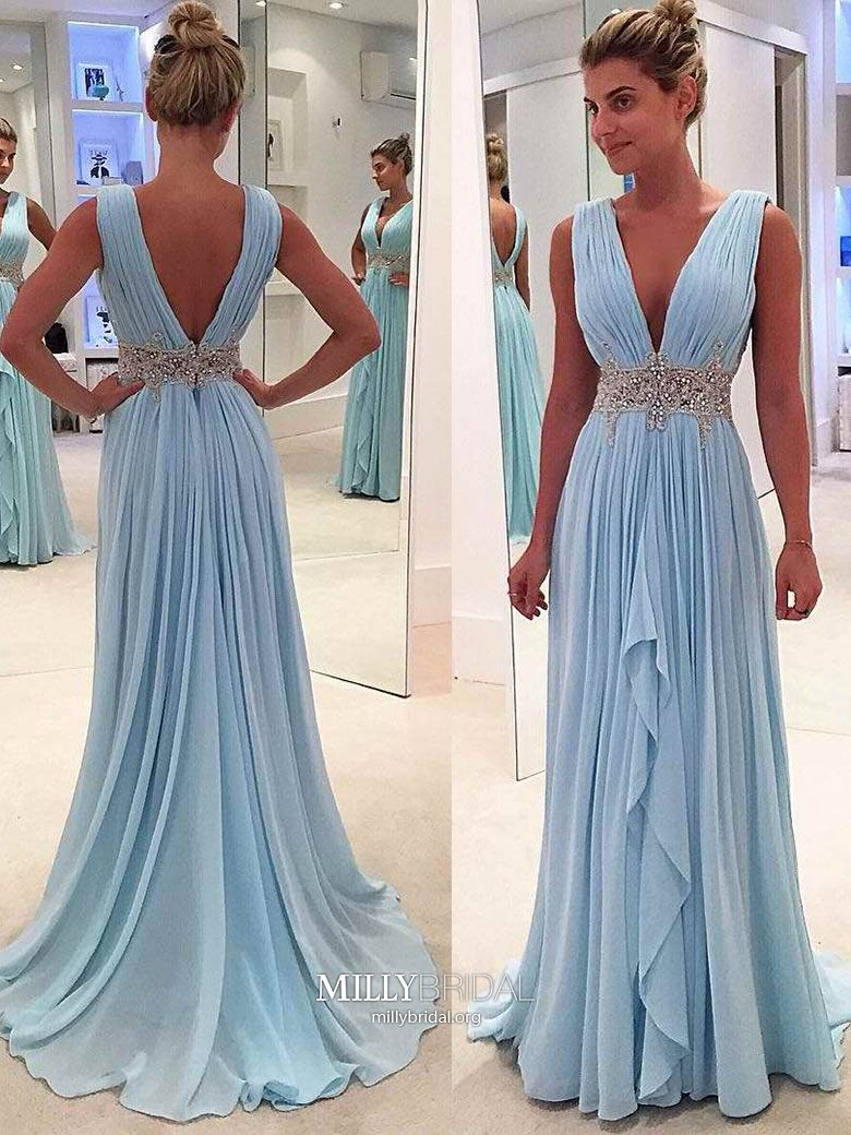 Blue prom dresses long a line prom dresses for teens chiffon prom