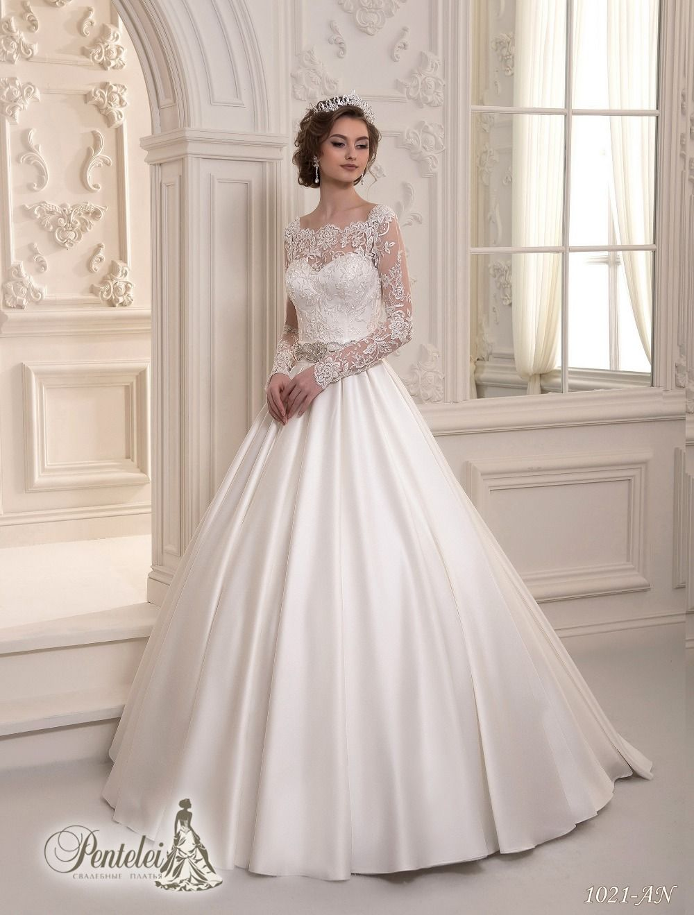 2015 Latest Long Sleeves Low Back Lace Top Satin Skirt Wedding Dress Vestido De Noiva In Wedding Dresses Elegant Wedding Dress Illusion Neckline Wedding Dress
