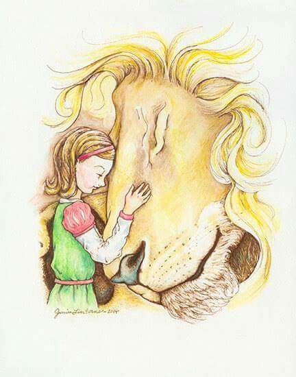 This is Beautiful fanart ♡ Lucy & Aslan! (Not made by me)