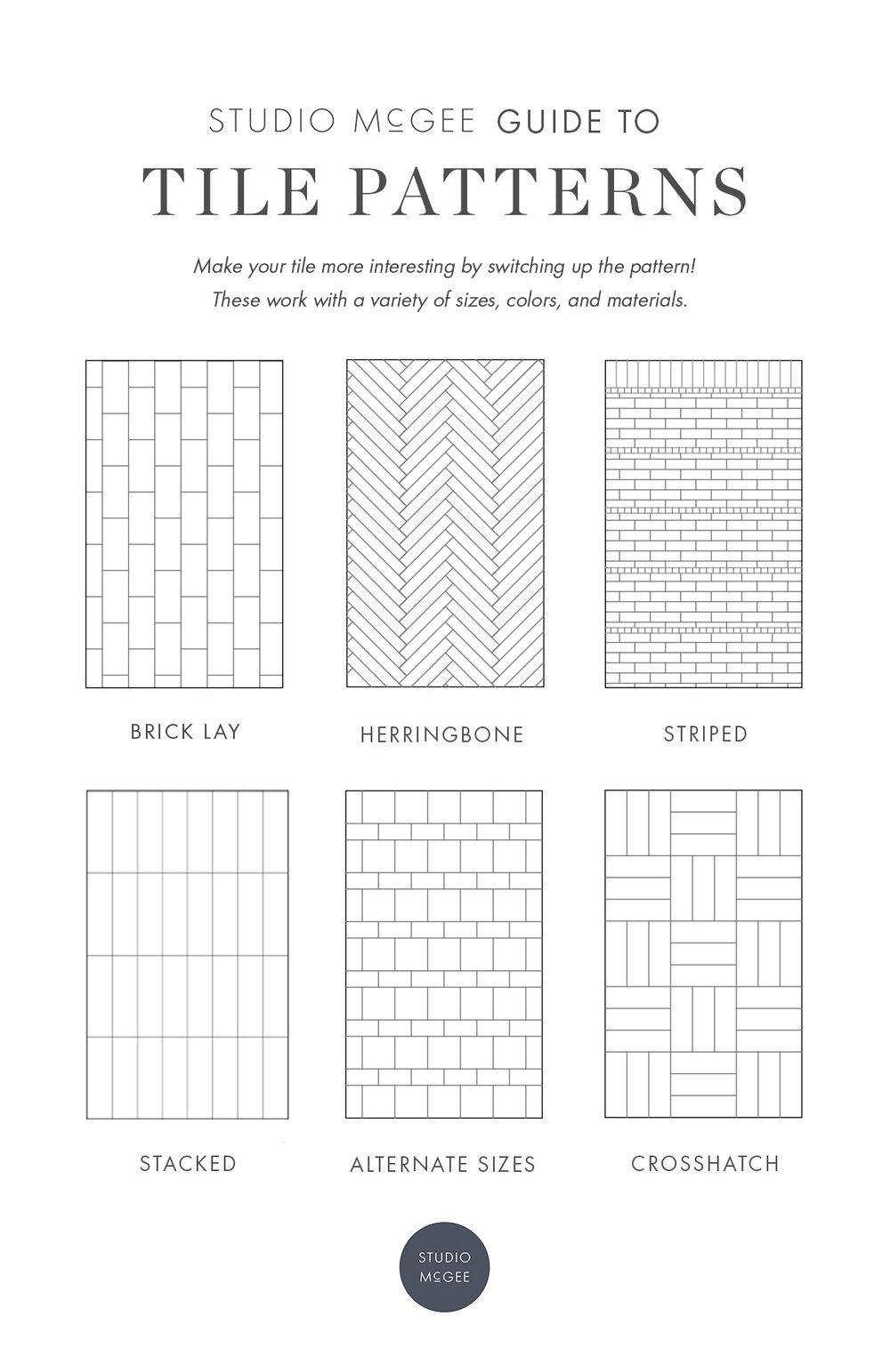 Our Guide To Patterned Tile Studio Mcgee Studio Mcgee Subway Tile Design Tile Layout Patterns