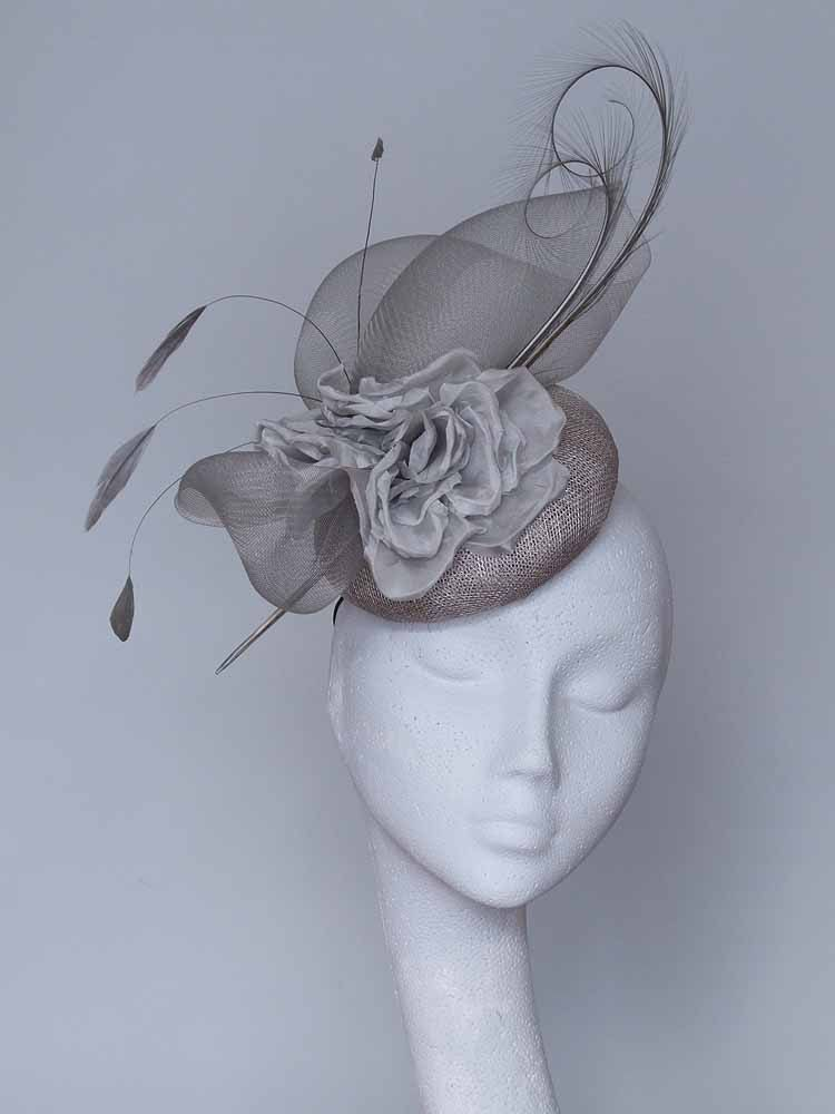 Grey Silver Fascinator Headpiece by CoggMillinery on Etsy  cf06a93a079