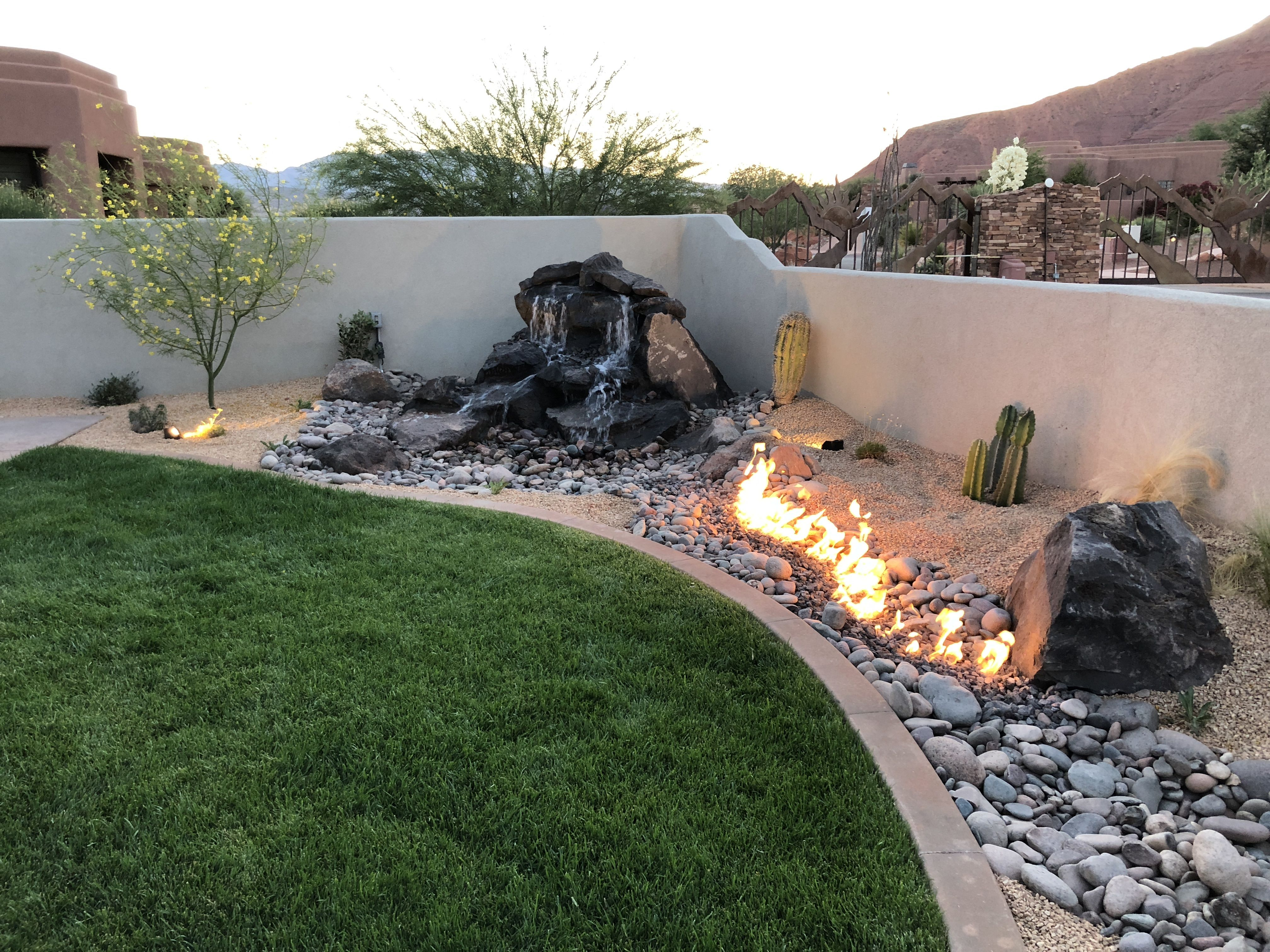 Custom Landscape In Ivins Utah Fire Pits, Water Features And