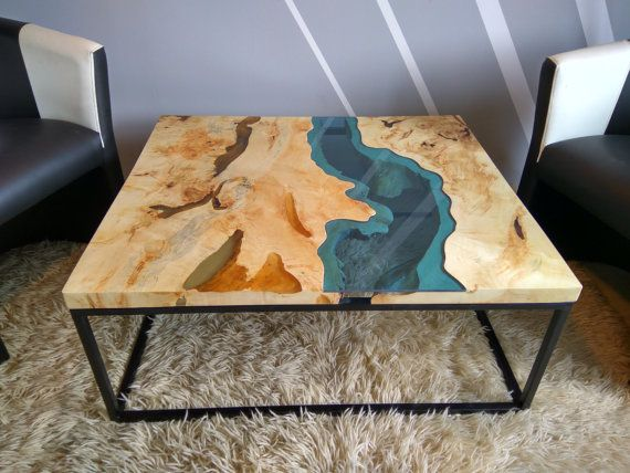 Couchtisch Mit Rand Sold Live Edge River Coffee Table With Transparent Epoxy
