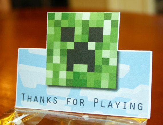 Minecraft Treat Bag Tags Printable by elletoppdesignworks on Etsy