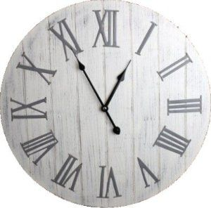 Antique White Wooden Wall Clock with Metal Roman Numerals