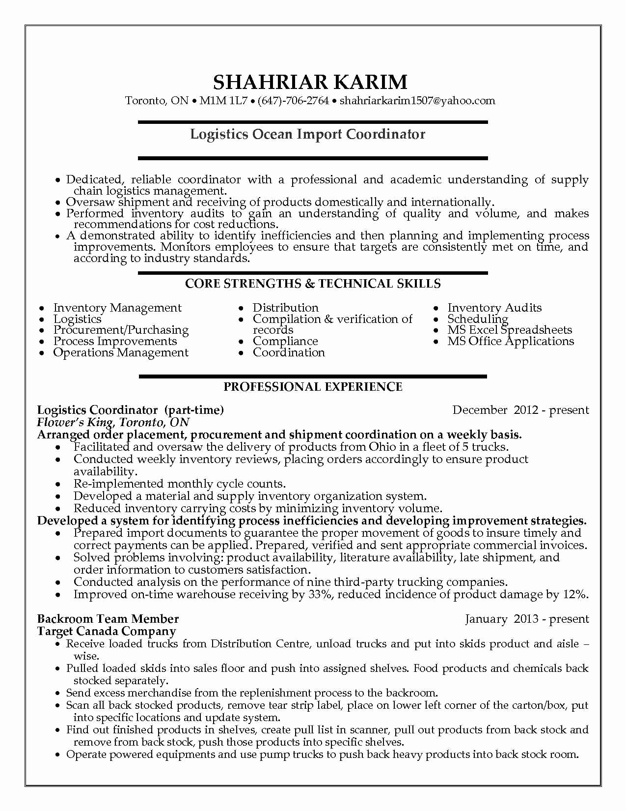 logistic coordinator resume sample logistic coordinator