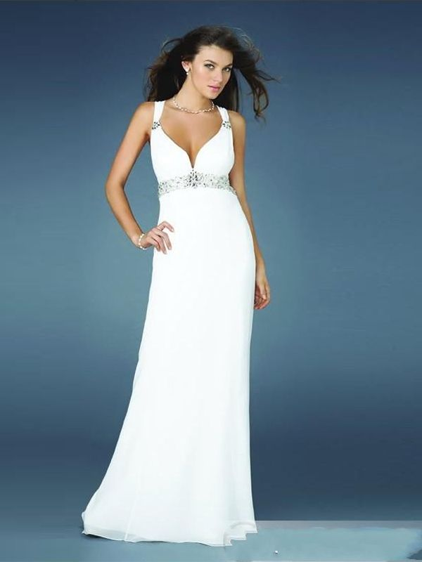 A-line Straps Chiffon Floor-length Sleeveless Crystal Detailing Formal Dresses at dressestylish