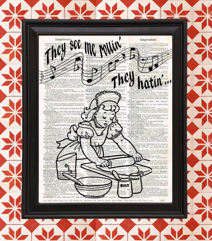 Retro kitchen wall art - They See Me Rollin Baking Rolling Pin Retro Kitchen Home Decor Gifts For Mom Vintage Dictionary Page Funny Wall Art Print Upcycled Recycled