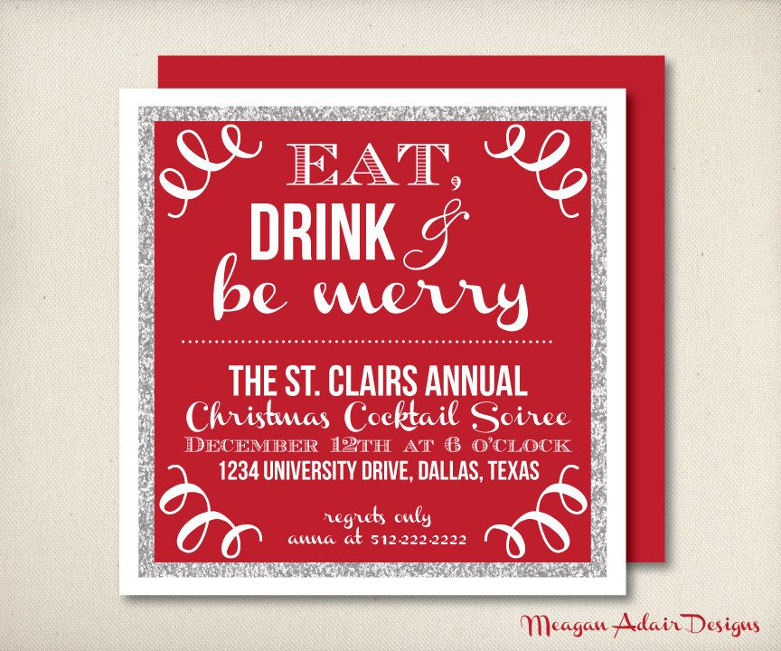 Eat Drink \ Be Merry Holiday Party Invitation - Christmas Cocktail - christmas dinner invitations templates free