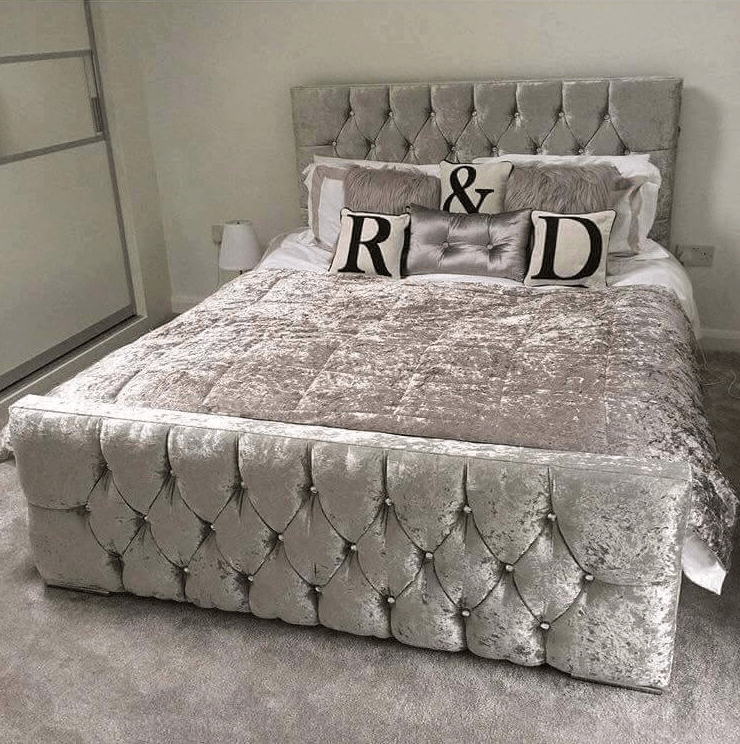 Monaco Crushed Velvet Bed Mirrored Furniture Sparkle Diamond