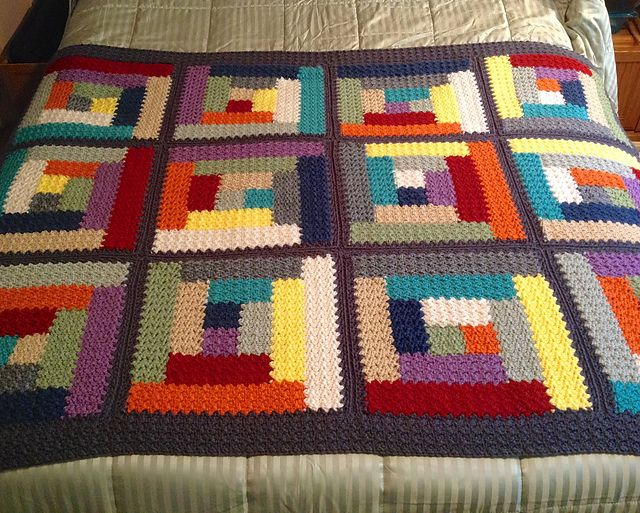 Free pattern on Ravelry called Textured Log Cabin Blanket pattern by ...
