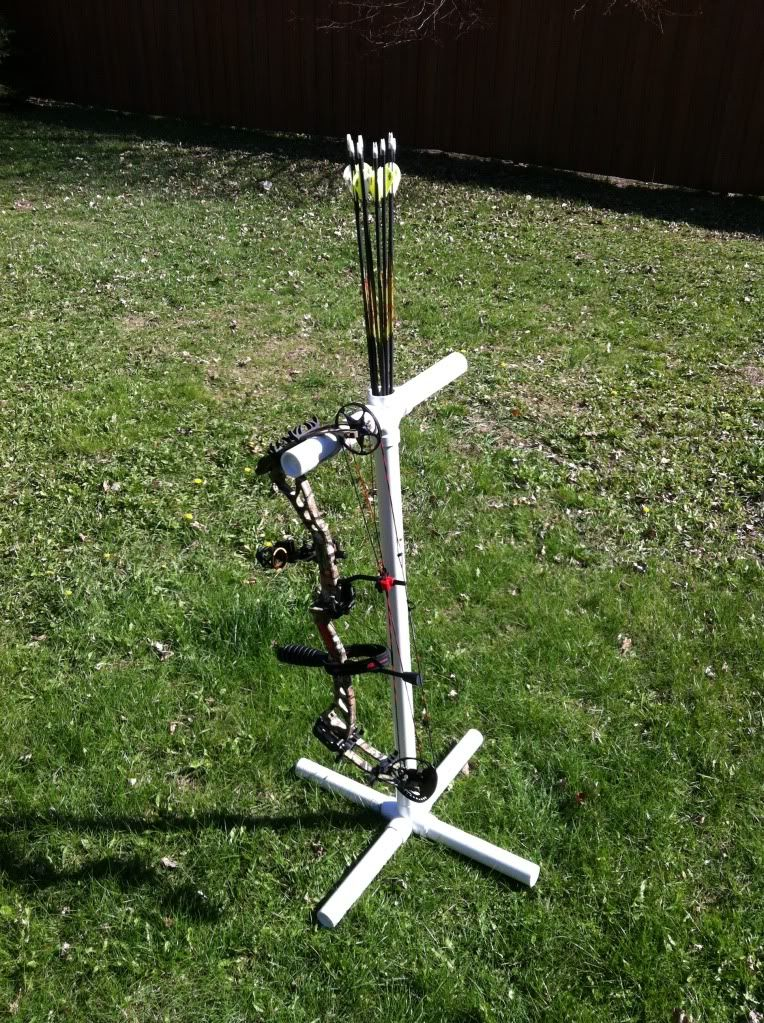 The official homemade bow stand pic plans thread for Pvc pipe bow plans