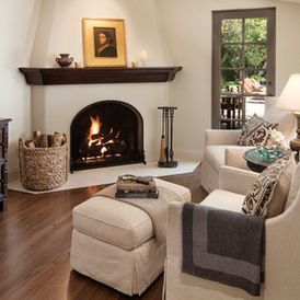 Spanish Style Fireplace Mediterranean Living Rooms Tv Above