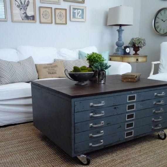 Vintage Cole Steel Blueprint Cabinet Map Drawer Industrial Coffee Table Repurposed Grey Wood Storage Studios Schone Mobel Wohnen Mobel