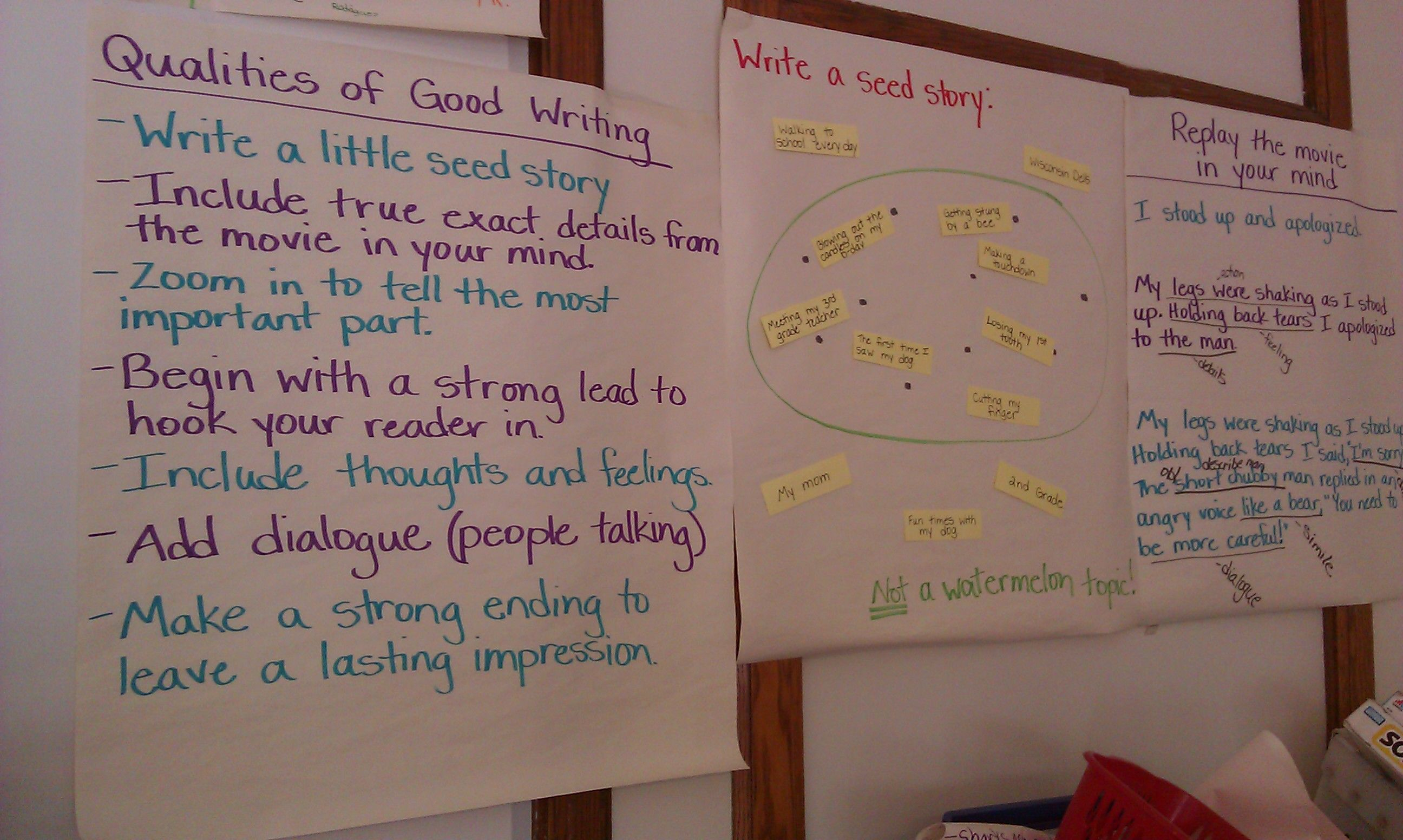 "Qualities of good writing & writing a ""seed story"" (3rd grade). A ""seed story"" is a narrative about a small moment, while a ""watermelon story"" is too large in scope, and more likely to be boring."