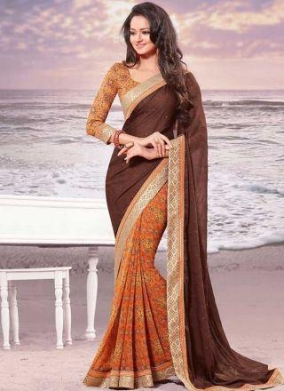 Orange Brown Border Work Georgette Fancy Half N Half Printed Designer Sarees  #Wedding #Bridal #designer #Saree       http://www.angelnx.com/Sarees