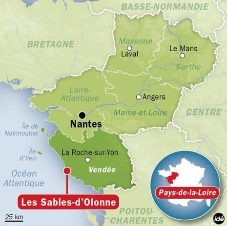 Carte de localisation des Sables d'Olonne