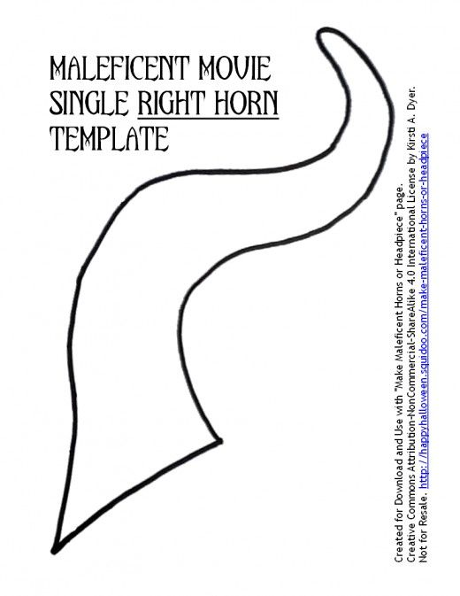 Maleficent Movie Single Right Horn Template Disney Crafts