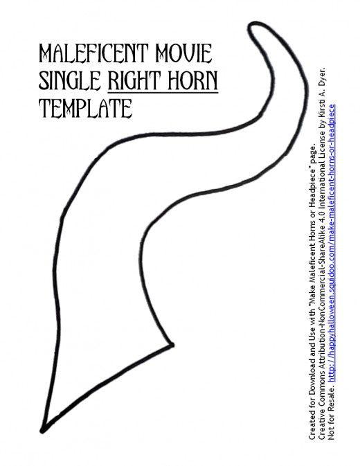 Maleficent Movie Single Right Horn Template Halloween